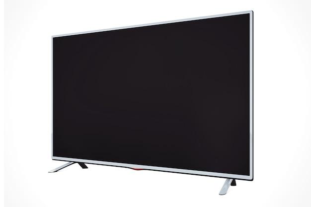 白い背景の上のモダンなフラットledまたは液晶テレビ。 3dレンダリング。
