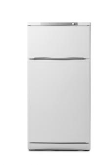 白で隔離されるモダンな冷蔵庫