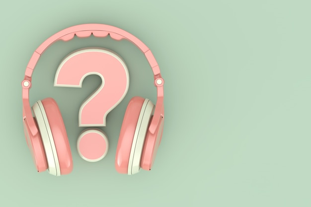 Modern fun teenager pink headphones with question mark on a green background. 3d rendering