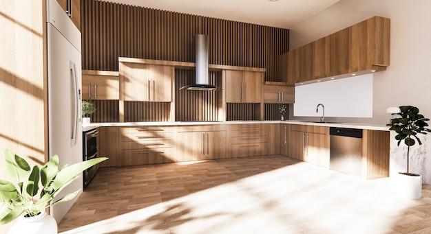 モダンな家具付き木製キッチンインテリア