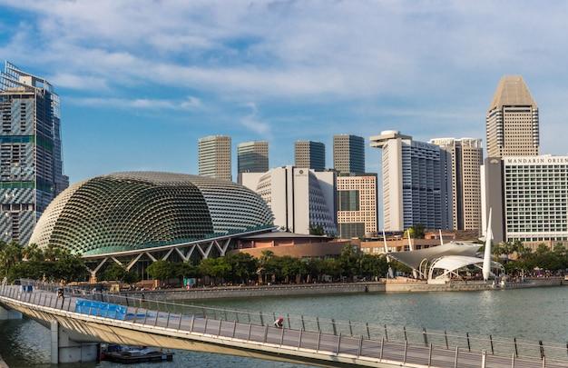 Modern futuristic buildings and bridge