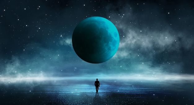 抽象的な島々と宇宙銀河と夜空のある現代の未来的なファンタジーの夜の風景