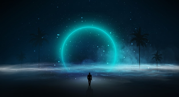Modern futuristic fantasy night landscape with abstract islands and night sky with space galaxies