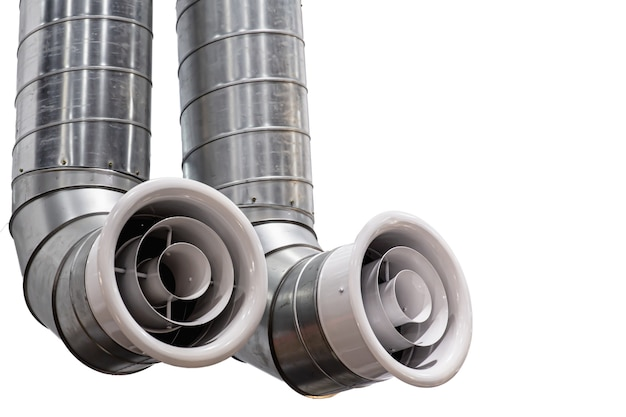 Modern futuristic large twin air pipe or air duct for air conditioner or air ventilation system indoor isolated