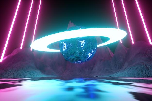 Современный футуристический неоновый абстрактный. планета и кольцо в центре. отражение света на мокрой поверхности. 3d визуализация