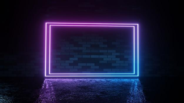 Modern futuristic neon lights on dark brick wall room background 3d rendering