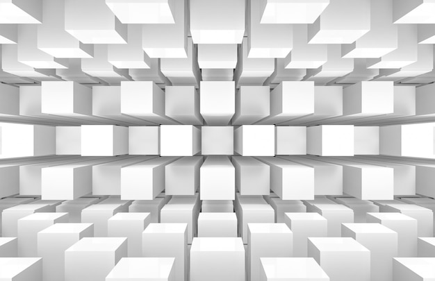 Modern futuristic white square round cube boxes stack wall and floor