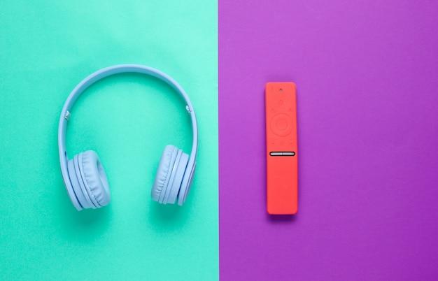 Modern gadgets on a mint purple background