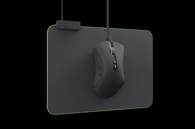 Modern gaming mouse on professional pad