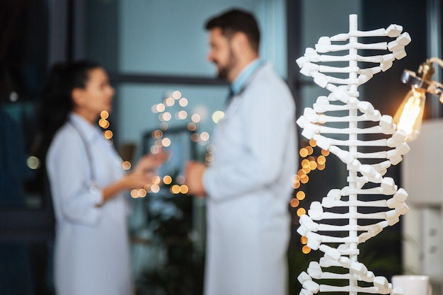 Modern genetics. selective focus of a dna model with nice smart genetic researchers talking in the background