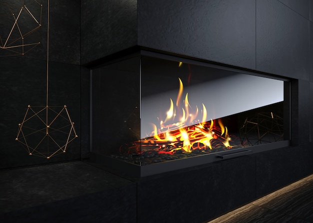 Modern glass corner fireplace in the interior