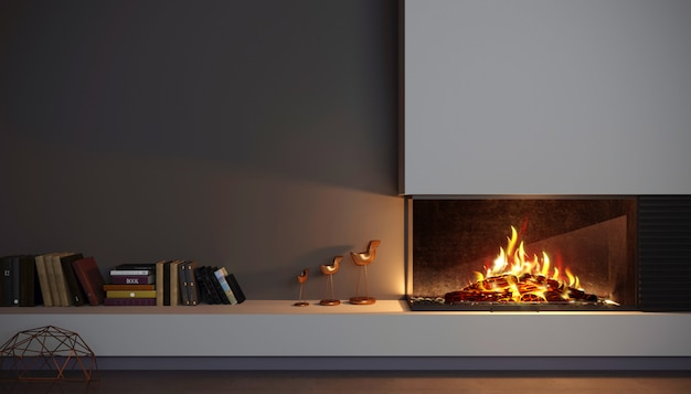 Modern glass corner fireplace wall in the interior