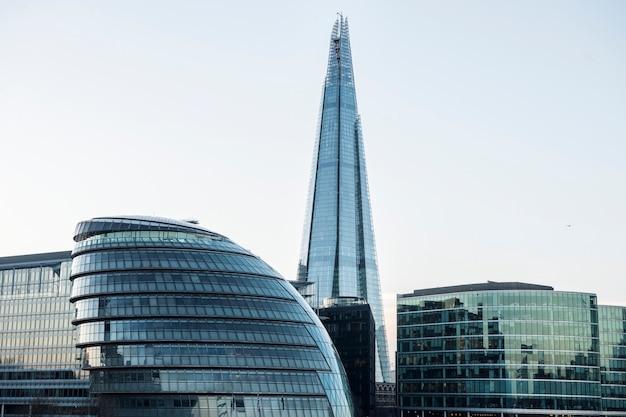 Modern glass skyscraper in a business district