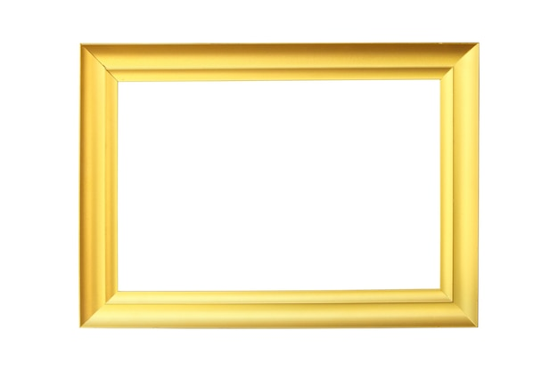 Modern gold picture photo frame on isolated white background.