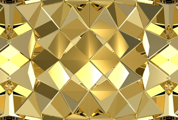 Modern golden triangle polygon texture wall background.