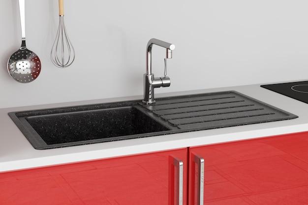 스테인레스 스틸 수도꼭지가 있는 현대적인 화강암 주방 싱크대, 빨간색 주방 가구 극단적인 근접 촬영에서 수도꼭지 빌드. 3d 렌더링