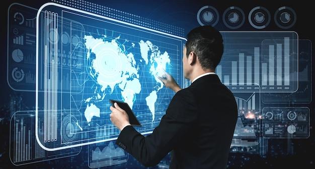 최신 그래픽 인터페이스는 비즈니스 판매 보고서의 방대한 정보를 보여줍니다.