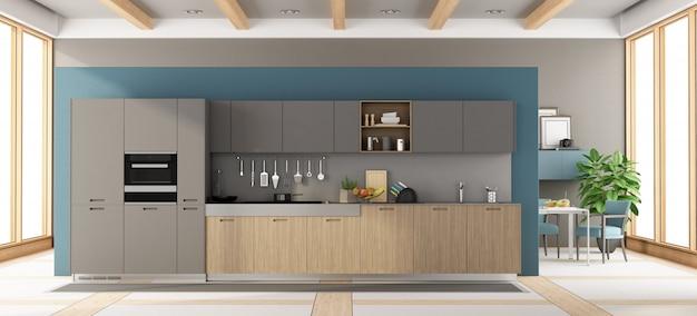モダンなグレーと木製のキッチン