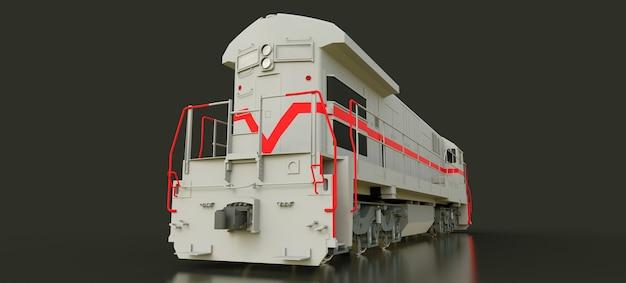 현대 회색 디젤 철도 기관차 3d 렌더링