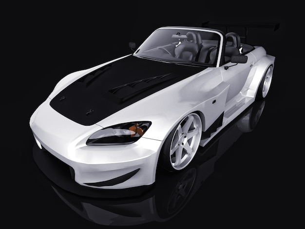 Modern gray metallic sports convertible. open car with tuning. 3d rendering.