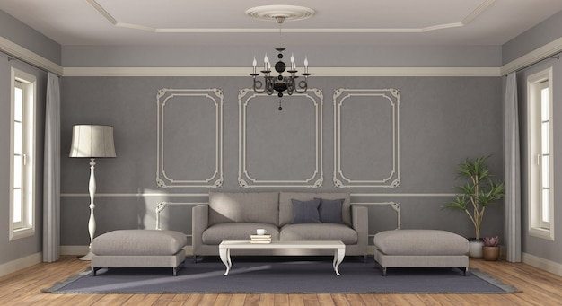 Modern gray sofa in a room in classic style - 3d rendering