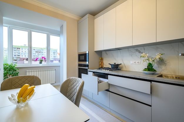 Modern gray and white kitchen interior