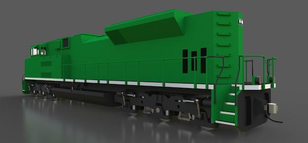 현대 녹색 디젤 철도 기관차 3d 렌더링 프리미엄 사진