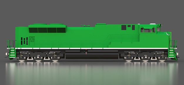 현대 녹색 디젤 철도 기관차 3d 렌더링