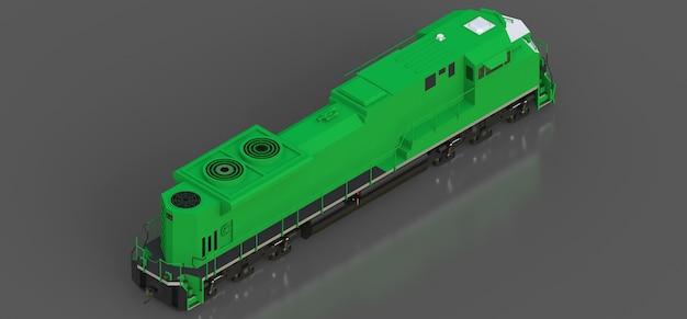 Современный зеленый тепловоз большой мощности и мощности для перемещения длинных и тяжелых поездов. 3d рендеринг.