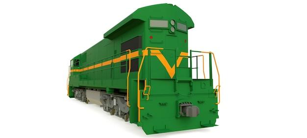 길고 무거운 철도 열차를 움직이는 데 큰 힘과 힘을 가진 현대 녹색 디젤 철도 기관차