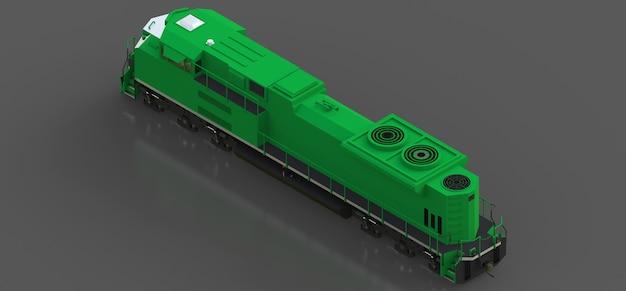 긴 이동을 위한 큰 힘과 힘을 가진 현대 녹색 디젤 철도 기관차
