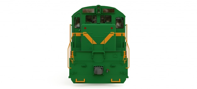 Modern green diesel railway locomotive with great power and strength for moving long and heavy railroad train