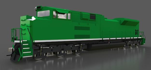 큰 힘을 가진 현대 녹색 디젤 철도 기관차