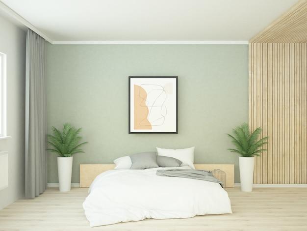 Современная спальня с зеленой стеной с деревянными панелями и белыми подушками