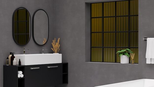 현대적인 세면대 장식이 있는 2개의 둥근 거울 블랙 캐비닛이 있는 현대적인 회색 욕실 인테리어