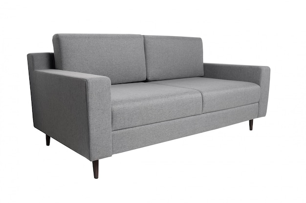 Modern grey fabric sofa isolated on white. side view. strict style