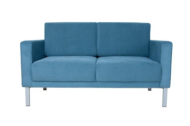 Modern grey fabric sofa isolated on white.