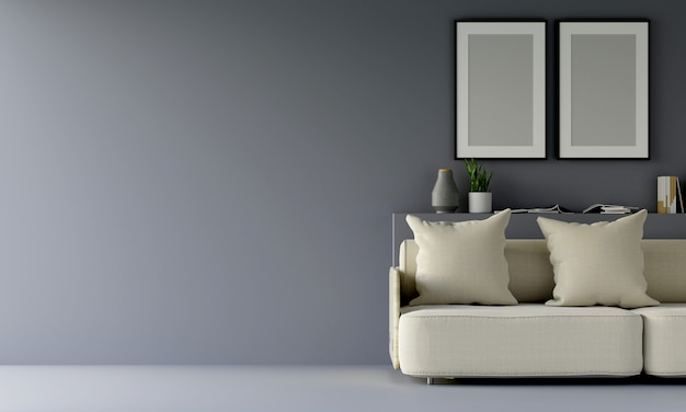 Modern grey living room with sofa and furniture and group of picture frame on the wall. 3d render.