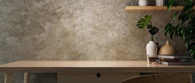 서랍과 장식 3d 렌더링이 있는 나무 책상에 복사 공간이 있는 현대적인 그루지 콘크리트 로프트 벽