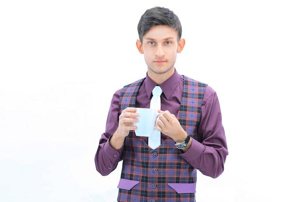 흰 벽에 격자 무늬 재킷 .isolated에 현대 남자