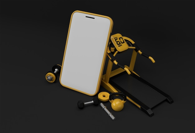 Modern gym equipment with empty mobile mockup 3d rendering.
