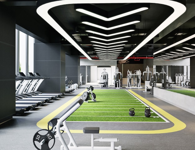 Modern gym interior in 3d illustration
