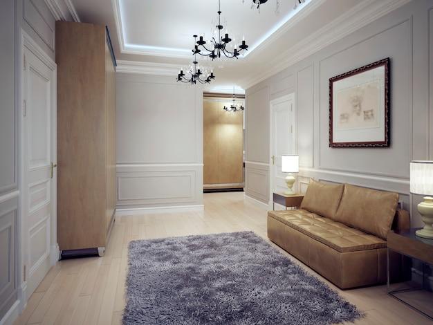 Современный холл с лепниной на стенах и потолком с неоновой подсветкой.