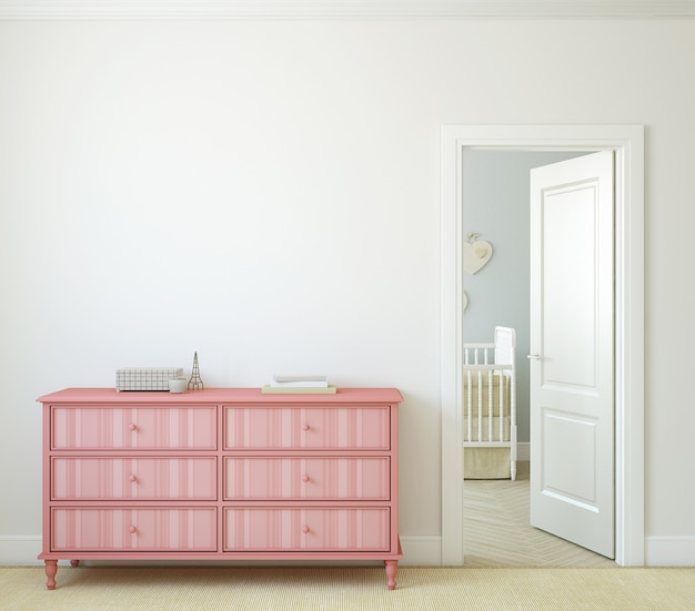 Modern hallway with open door. pink dresser near white wall. 3d render.