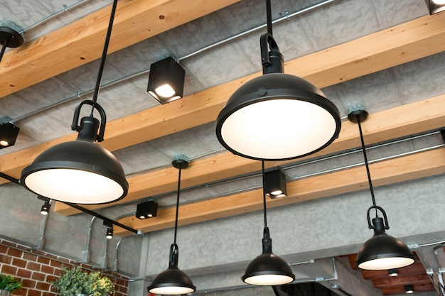 Modern hanging lamp style in room.