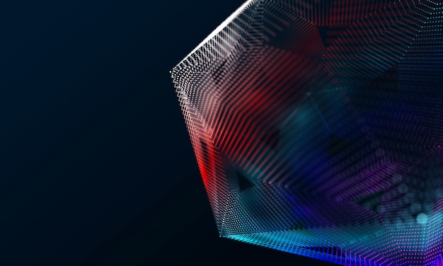 Modern hexagon effect 3d rendering colorful background