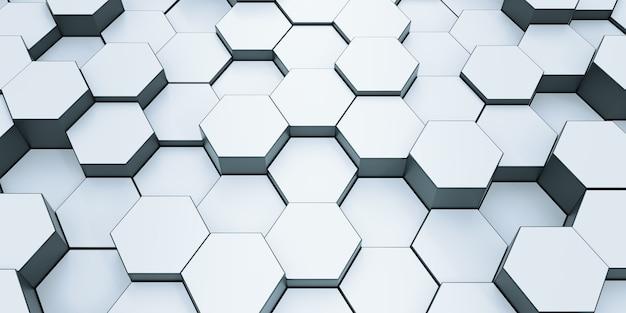 Modern hexagonal background texture pattern. honeycombs at different level. 3d rendering illustration. futuristic banner. Premium Photo