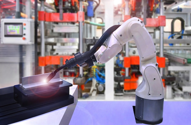 Modern high quality automation welding robots at industrial