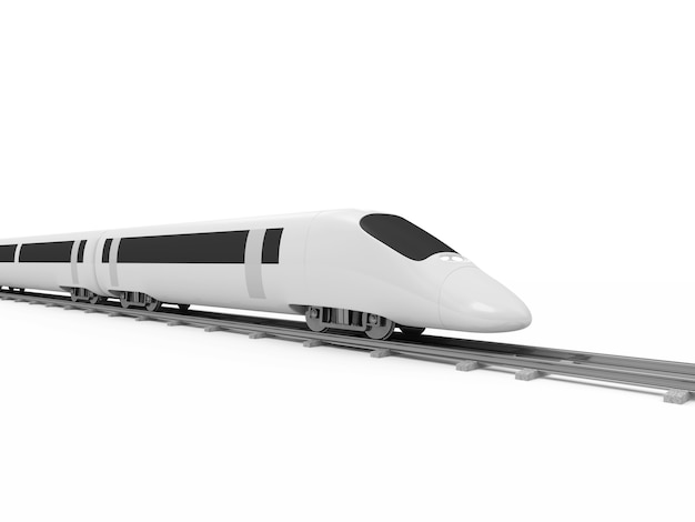 Modern high-speed train isolated on white background