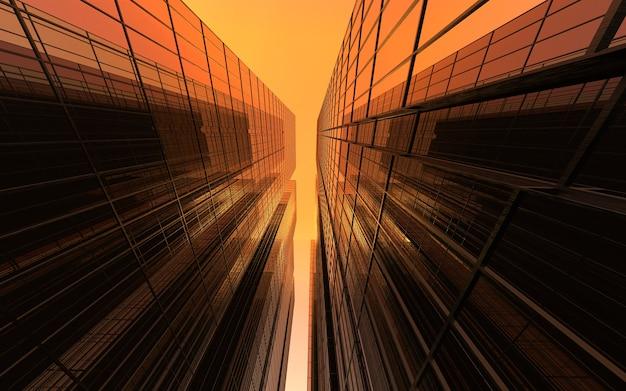 赤い空を背景にしたモダンな高層ビル。ビジネスの成功とテクノロジーをテーマにした3dイラスト